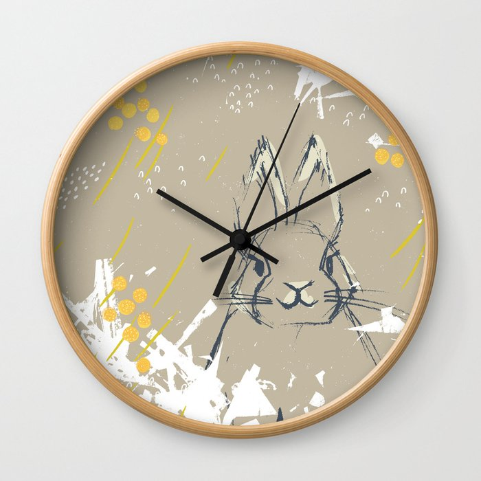Bunny Portrait M+M Latte by Friztin Wall Clock