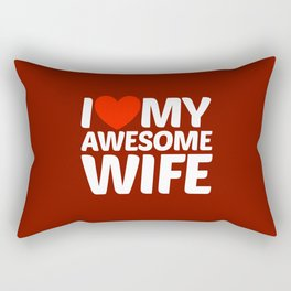 I HEART LOVE MY AWESOME WIFE (White Art) Rectangular Pillow