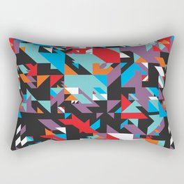 Colorful Texture Purple, Turquoise, Orange, White, Red and Black Rectangular Pillow
