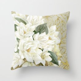 Elegant Magnolias – with a Touch of Gold Throw Pillow