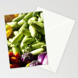 An array of brightly vegetables and fruits Stationery Cards