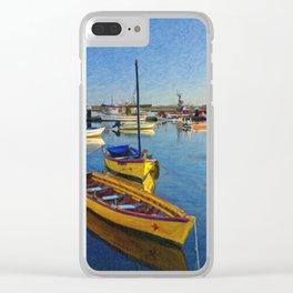 Yellow fishing boat, Santa Luzia, Portugal Clear iPhone Case