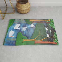 A Flock of Seven Swans-A-Swimming Rug