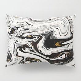 Black and Gold Liquid Paint Swirl Marble Pattern Pillow Sham