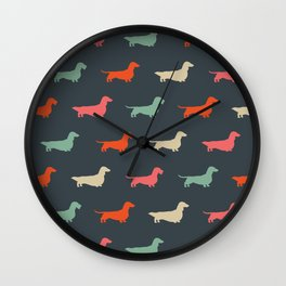Dachshund Silhouettes | Colorful Patterned Wiener Dogs Wall Clock