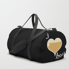 I love Beer white text Duffle Bag