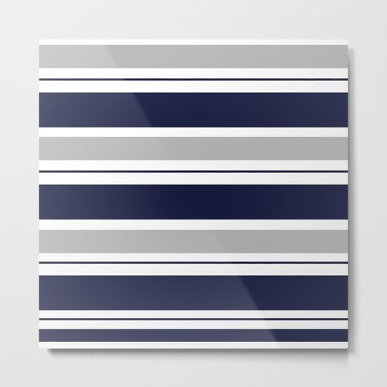 Navy Blue and Grey Stripe Metal Print