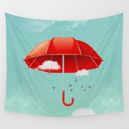 Teal Sky Red Umbrella Wall Tapestry