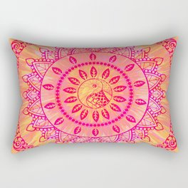 Sun Kissed Mandala Orange Pink Rectangular Pillow