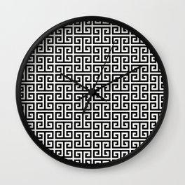 Black and White Greek Key Pattern Wall Clock