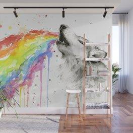 Wolf Rainbow Watercolor Animal Wall Mural