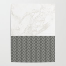 White Marble with Grey Star Pattern Design Poster
