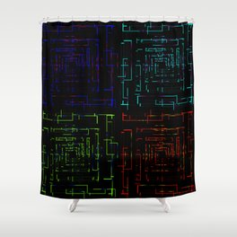 Banners with electronic cards. Shower Curtain