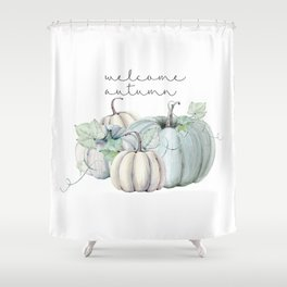 welcome autumn blue pumpkin Shower Curtain