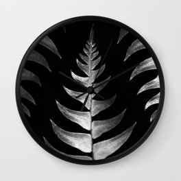 Silver Ferns Reflect the Remnants of Light Wall Clock