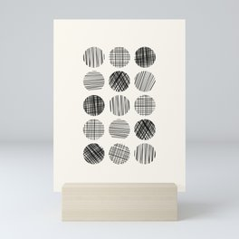 Abstract Line Work Circles in Black and Cream Mini Art Print