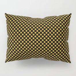 Black and Nugget Gold Polka Dots Pillow Sham