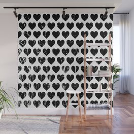 Hearts Pattern | Minimalism | Black-and-White | Modern | Love Wall Mural