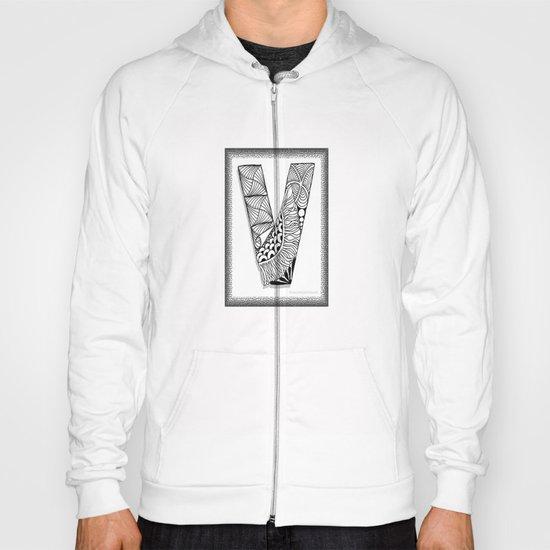Zentangle V Monogram Alphabet Illustration Hoody