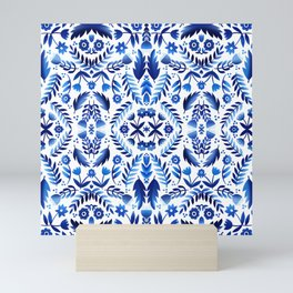 Folk Art Flowers - Blue and White Mini Art Print