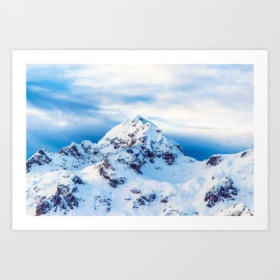 Snow Covered Mountain Art Print