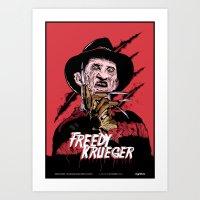 freddy krueger Art Prints featuring Freddy Krueger by Victor Berbel