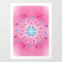 music notes Art Prints featuring Music Notes In Pink by HK Chik