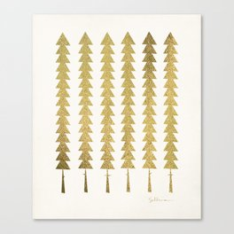 Gold Fancy Trees Canvas Print