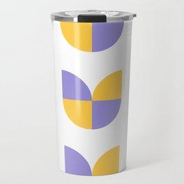 Geometric abstract mid century modern retro tulip flowers - yellow and purple Travel Mug
