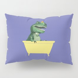 Playful T-Rex in Bathtub in Purple Pillow Sham