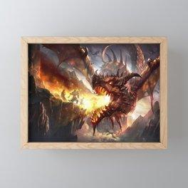 digital digital artwork fantasy dragon landscape fire wings fictional battle fictional characters people rocks mountains creature fictional creatures environment illustration Framed Mini Art Print
