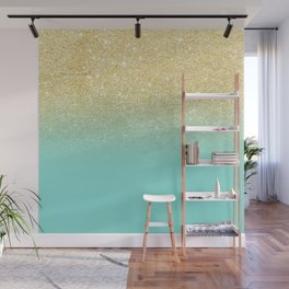 Modern chic gold glitter ombre robbin egg blue color block Wall Mural