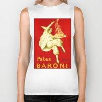 pasta Biker Tanks featuring Pasta Baroni Leonetto Cappiello by aapshop