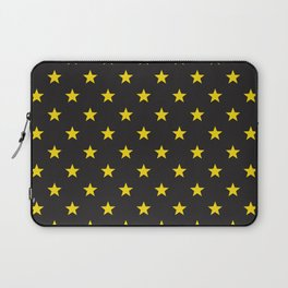Stary Stars - Yellow on black background Laptop Sleeve