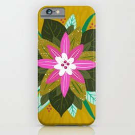 Tropical flower | Gold iPhone Case