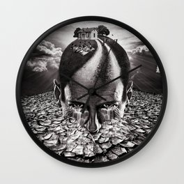 Inhabited Head Grayscale Wall Clock