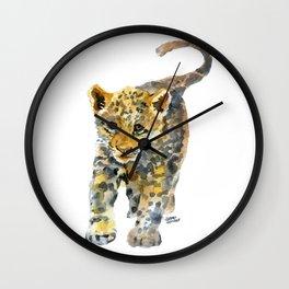 Baby Jaguar Watercolor Painting Wall Clock