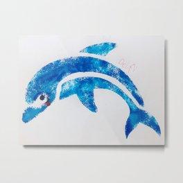 Dolphin Blow Pins Metal Print