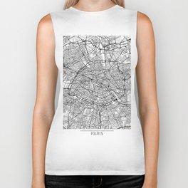 Paris Map White Biker Tank