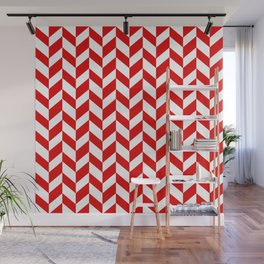 Herringbone Texture (Red & White) Wall Mural