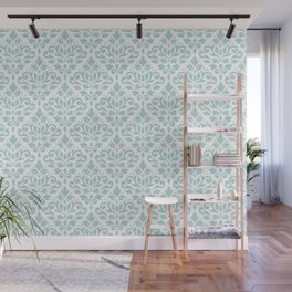Scroll Damask Lg Pattern Duck Egg Blue on White Wall Mural
