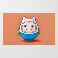 finn Area & Throw Rugs featuring Daruma: Finn the Human by Monstruonauta