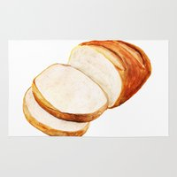 bread Area & Throw Rugs featuring White bread by Nadezhda Shoshina