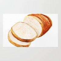 bread Area & Throw Rugs featuring White bread by Nadezhda Shoshina