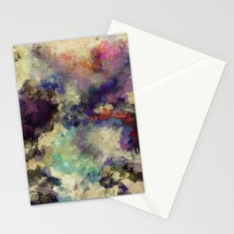 Contemporary Abstract Painting in Purple / Violet Color Stationery Cards