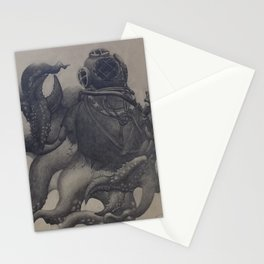 Scuba Diver with Crab Hands Stationery Cards