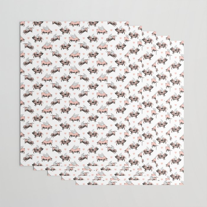 Flying Pigs | Vintage Pigs with Wings | Wrapping Paper