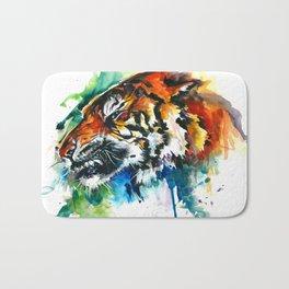 Orange Mad Tiger Watercolor Bath Mat