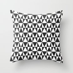 Black White Geometric Hipster Triangles Pattern Throw Pillow