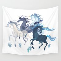 unicorns Wall Tapestries featuring Running Unicorns by Sumi Illustrator